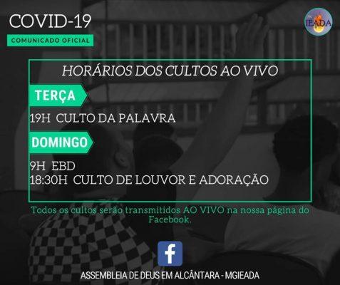 Horário dos Cultos – COVID-19